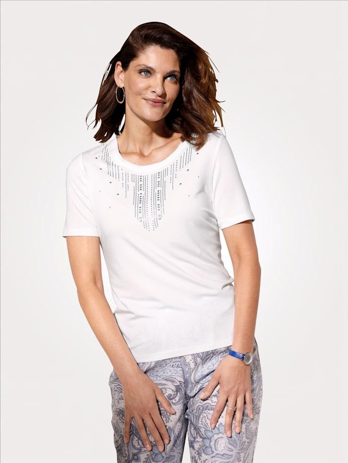 MONA Shirt mit dekorativem Ausschnitt, Weiß/Blau