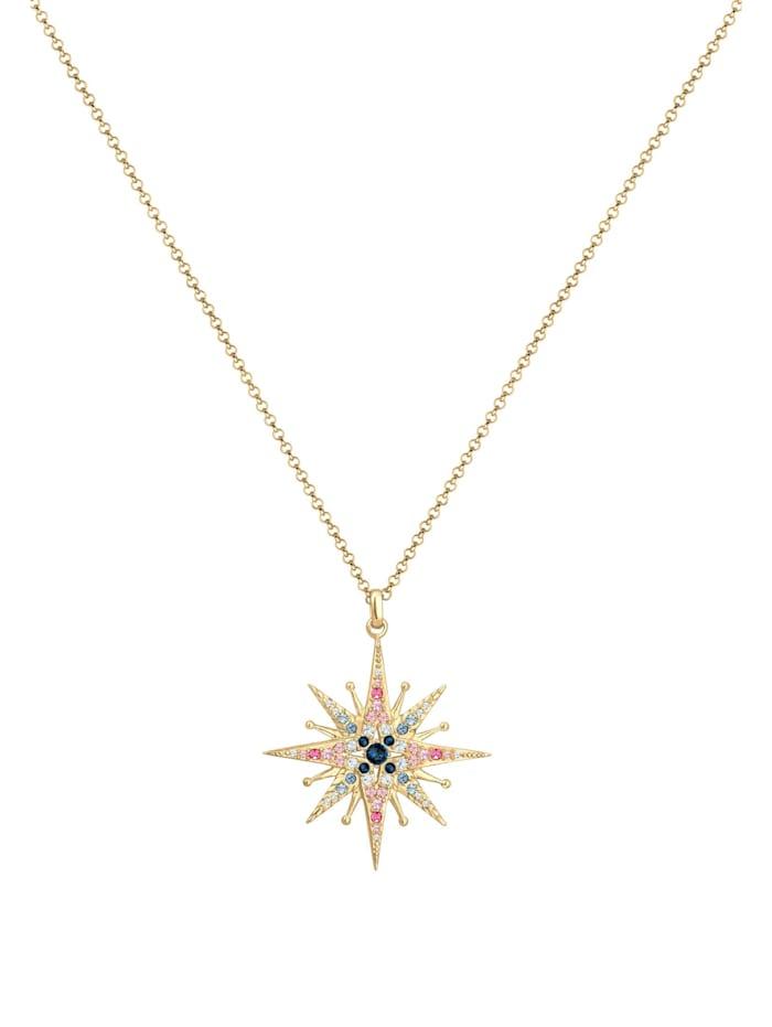 Halskette Erbskette Stern Kristalle 925Er Silber