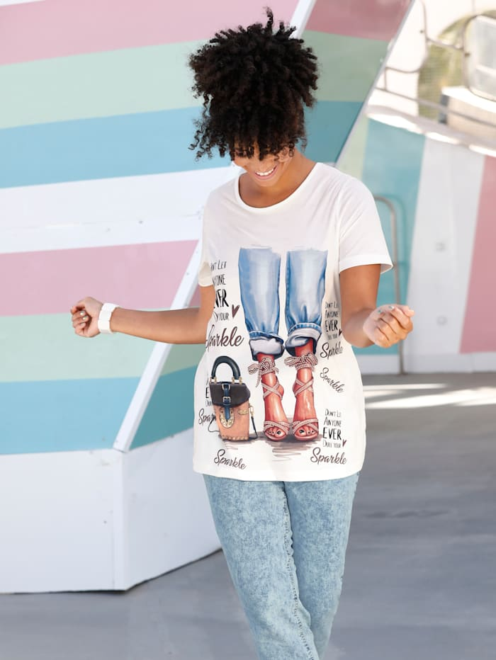 Angel of Style Shirt mit stylischem Druckmotiv, Off-white