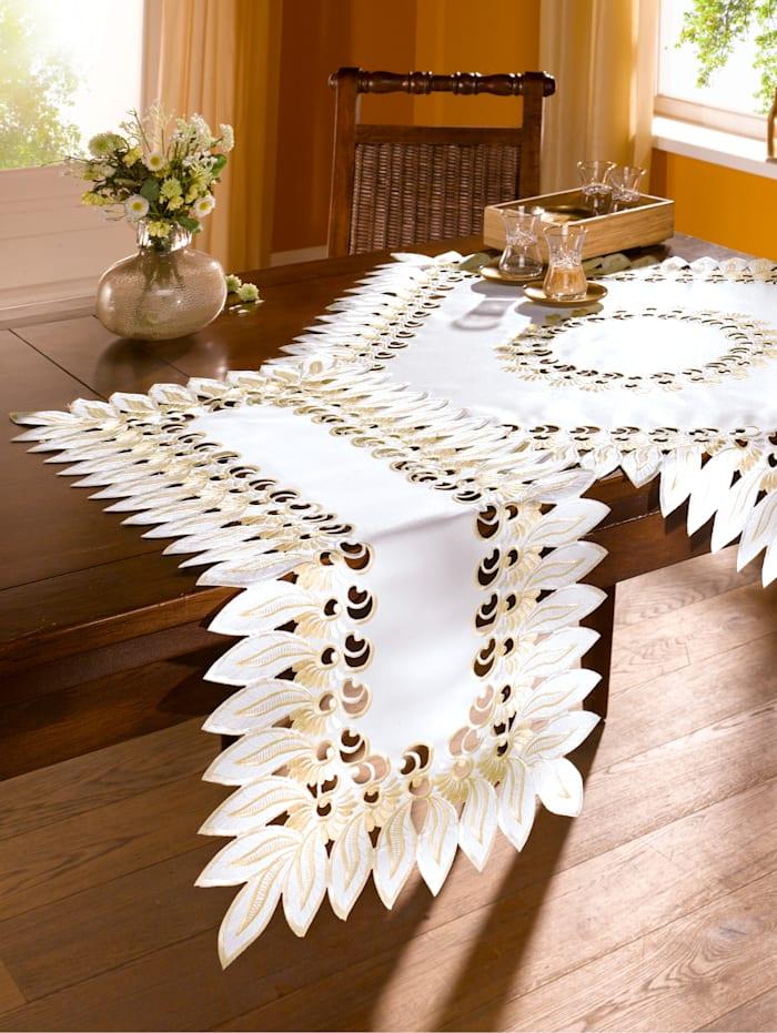 Duk med dekorativ bladkant