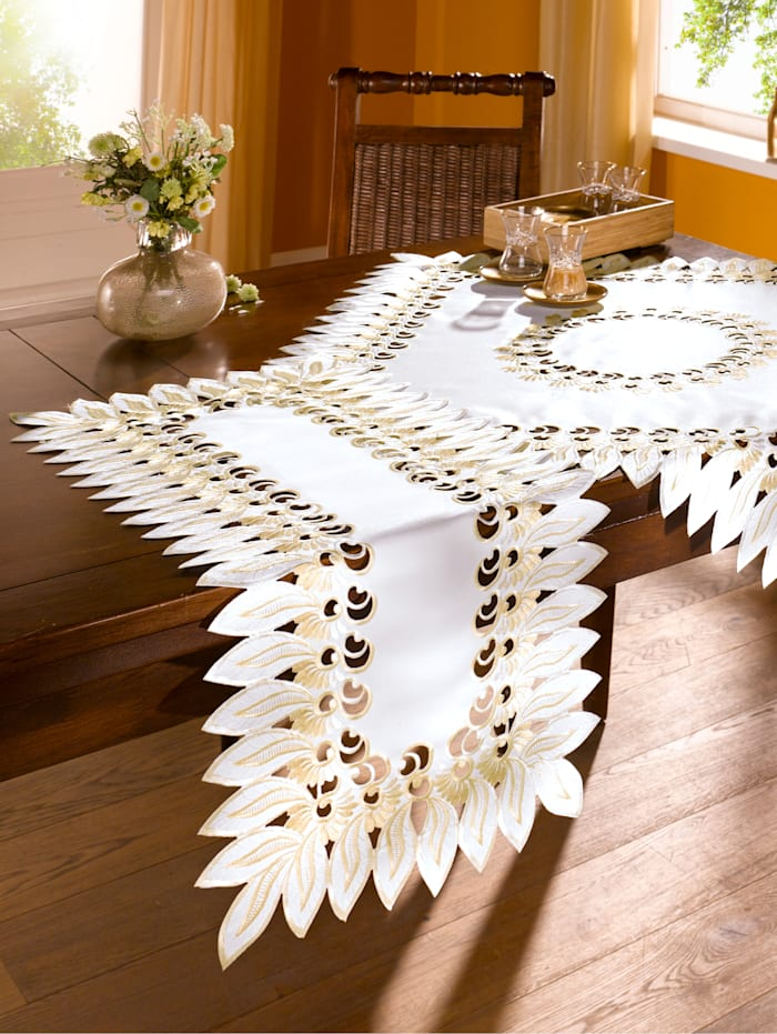 Webschatz Tischwäsche 'Marina', weiß-gold