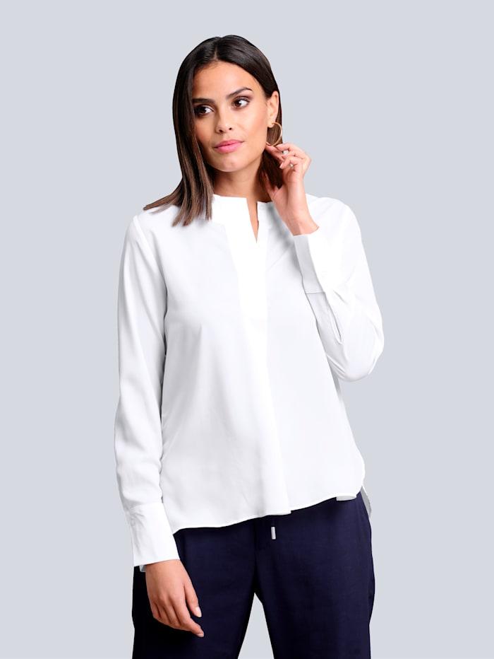 Alba Moda Bluse mit kurzer verdeckter Knopfleiste, Weiß