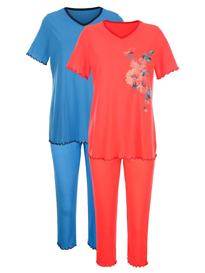 Harmony Pyjama's per 2 stuks met decoratieve contrastpaspels, Koraal/Blauw
