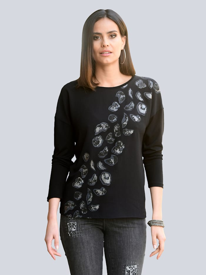 Alba Moda Shirt mit Print im Vorderteil, Schwarz/Off-white/Grau