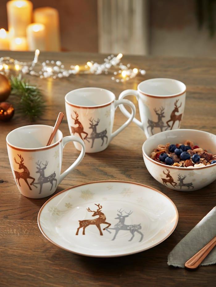 Flirt by Ritzenhoff Set van 2 koffiemokken Dancing Deer, wit/grijs/bruin