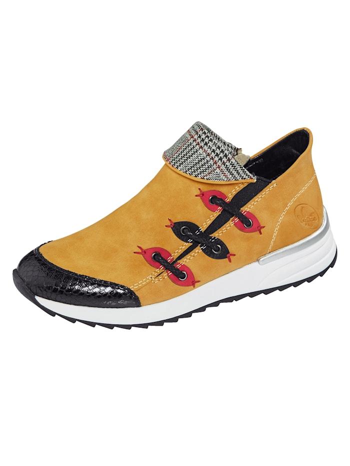 Rieker Sneaker in harmonieuze kleuren, Mosterdgeel