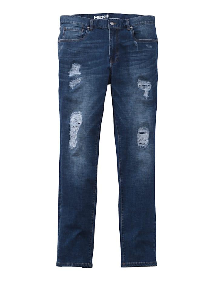 Men Plus Destroyed džínsy Slim Fit, Blue stone