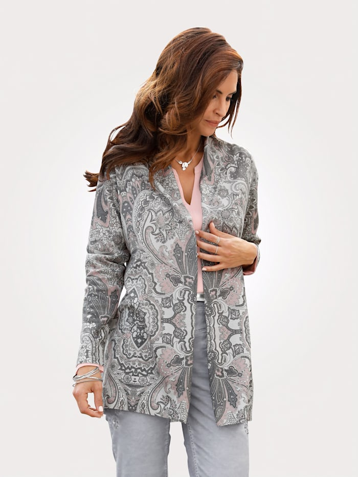 MONA Cardigan with a paisley print, Rosé/Grey/Taupe