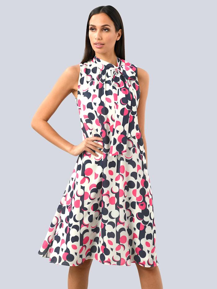Alba Moda Kleid allover im Punkte-Dessin, Marineblau/Pink/Weiß