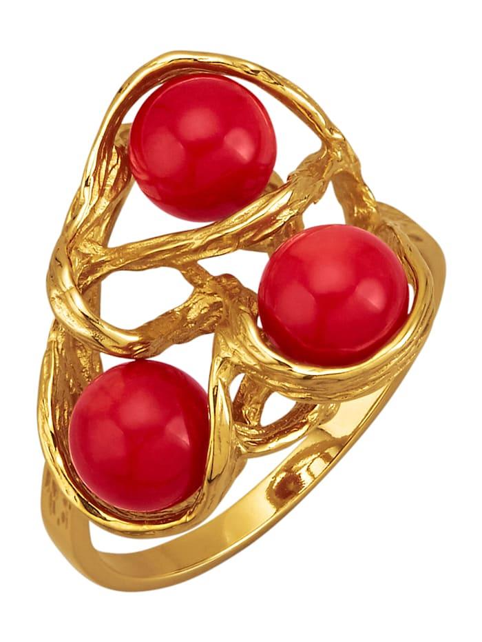 Damenring mit Korallen (beh.), Rot
