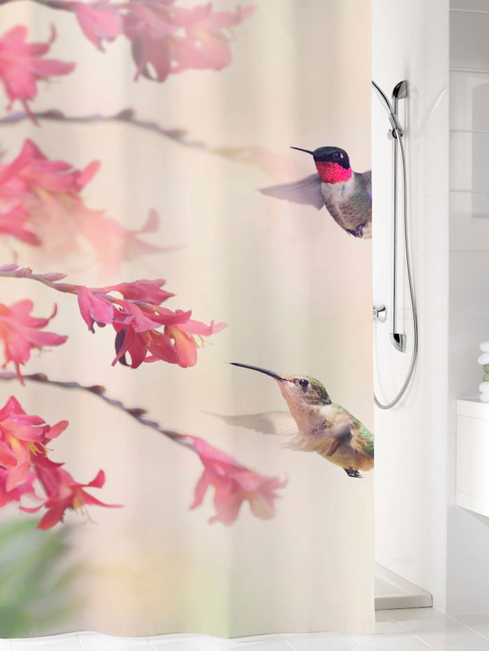Kleine Wolke Duschvorhang 'Kolibri', mehrfarbig