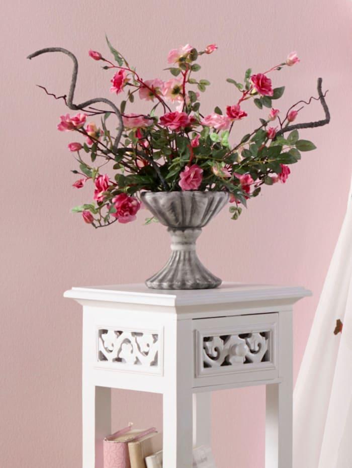 Wildrosen im Keramiktopf, rosa