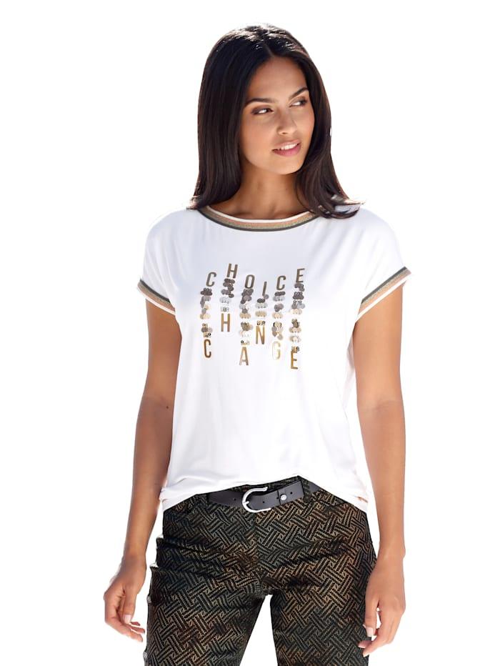 Shirt met biesjes en opschrift