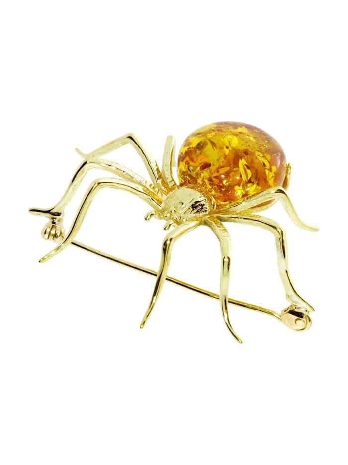 OSTSEE-SCHMUCK Brosche - Spinne 48 x 40 mm - Silber 925/000, vergoldet - Bernstein, goldfarben-gelb