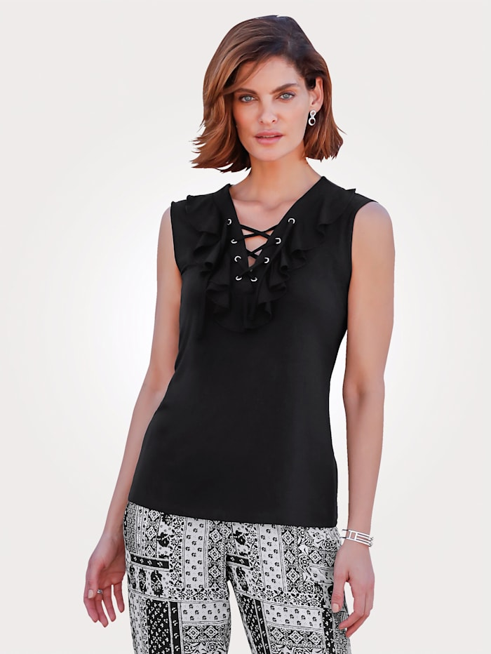 MONA Top with lace-up detail, Black