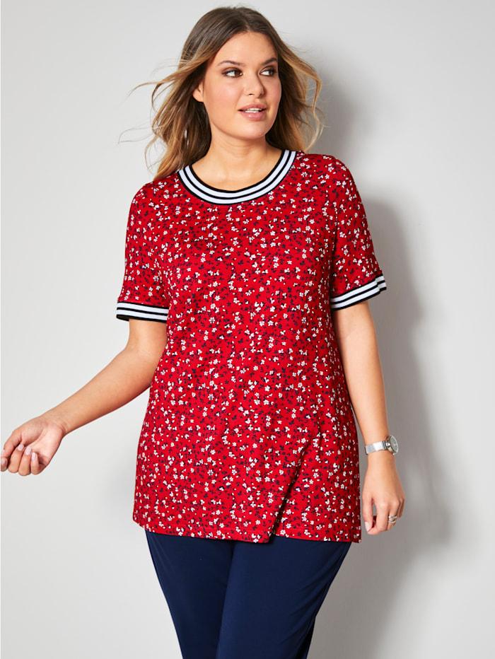 Janet & Joyce Shirt mit Rippbündchen an Ausschnitt und Ärmeln, Rot/Weiß/Marineblau