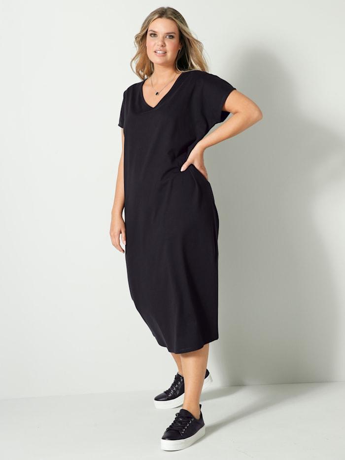 Janet & Joyce Jerseykleid aus reiner Baumwolle, Schwarz