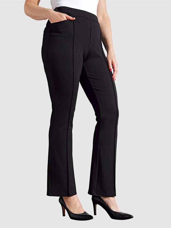 MIAMODA Pantalon de coupe bootcut tendance, Noir