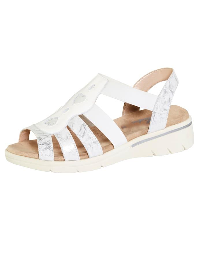 Naturläufer Sandale mit schöner Verzierung, Weiß