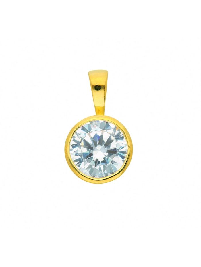 1001 Diamonds Damen Silberschmuck 925 Silber Anhänger mit Zirkonia Ø 7,9 mm, vergoldet