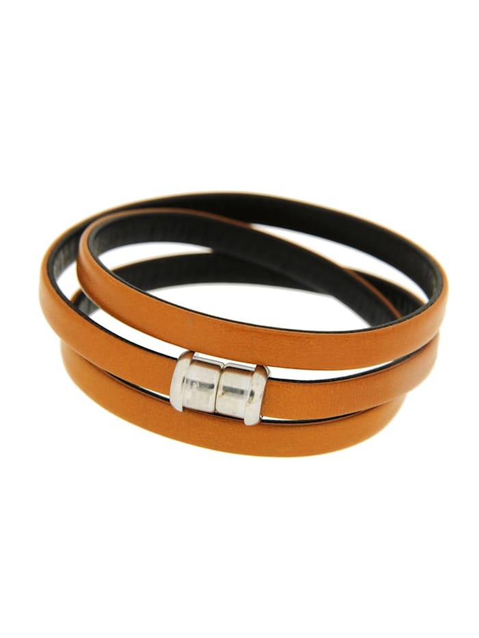 Grazielli Masai-Armband aus Leder und Silber 925, Braun