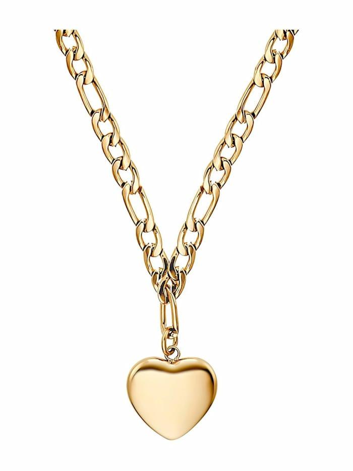 Kette mit Anhänger für Damen, Stainless Steel IP Gold, Herz