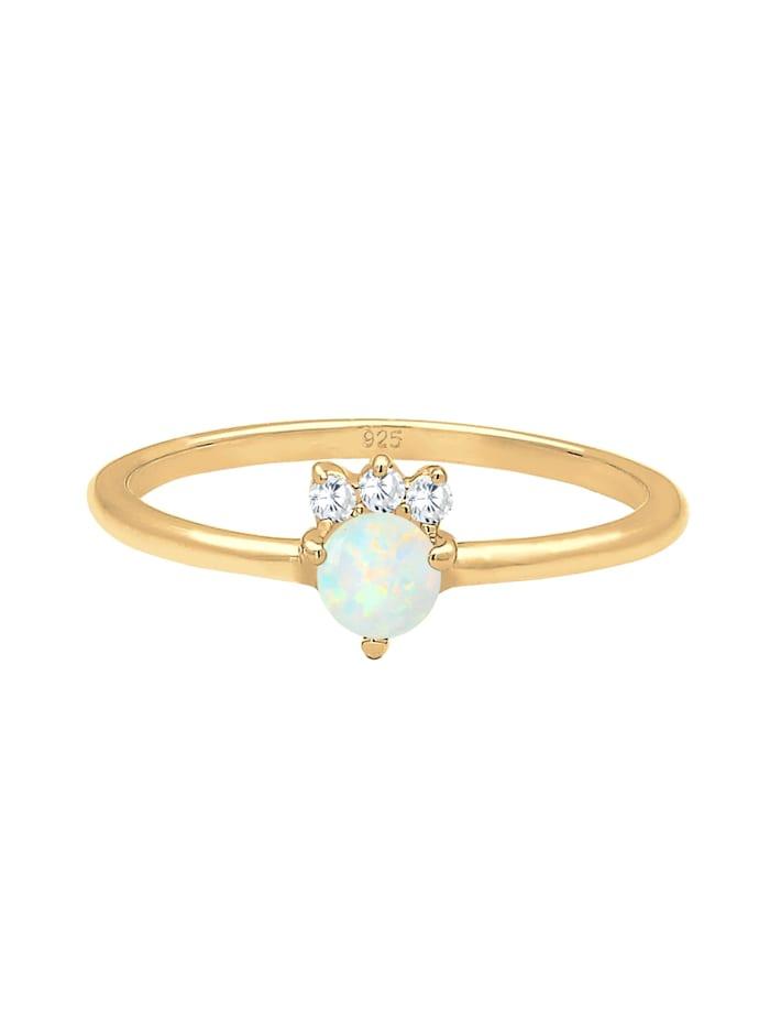 Ring Vintage Zirkonia Kristalle Opal Trend 925 Silber