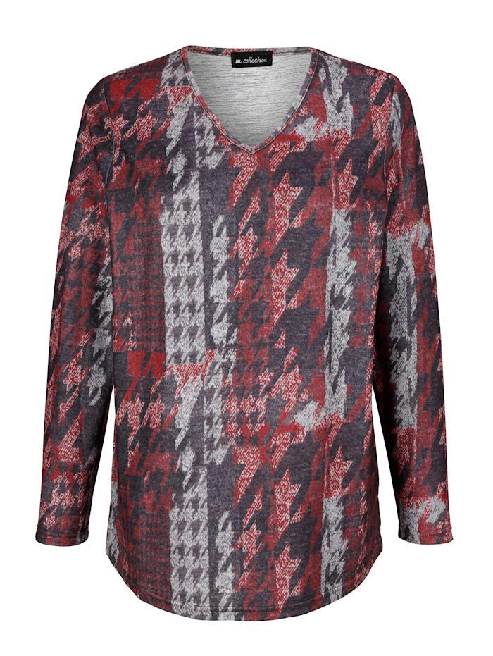 m. collection Shirt met grafisch dessin, Bordeaux/Donkerbruin