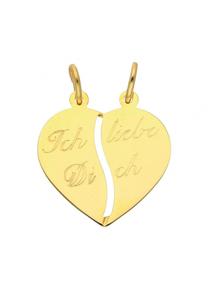 1001 Diamonds Damen Goldschmuck 333 Gold Anhänger Partneranhänger, gold