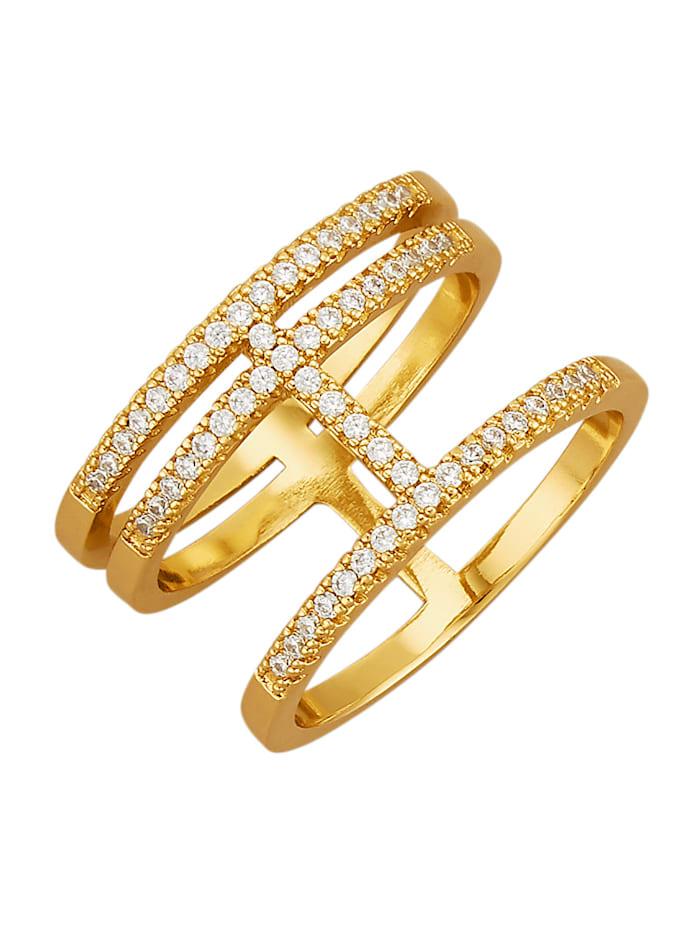Golden Style Damesring met kristalsteentjes, Geelgoudkleur