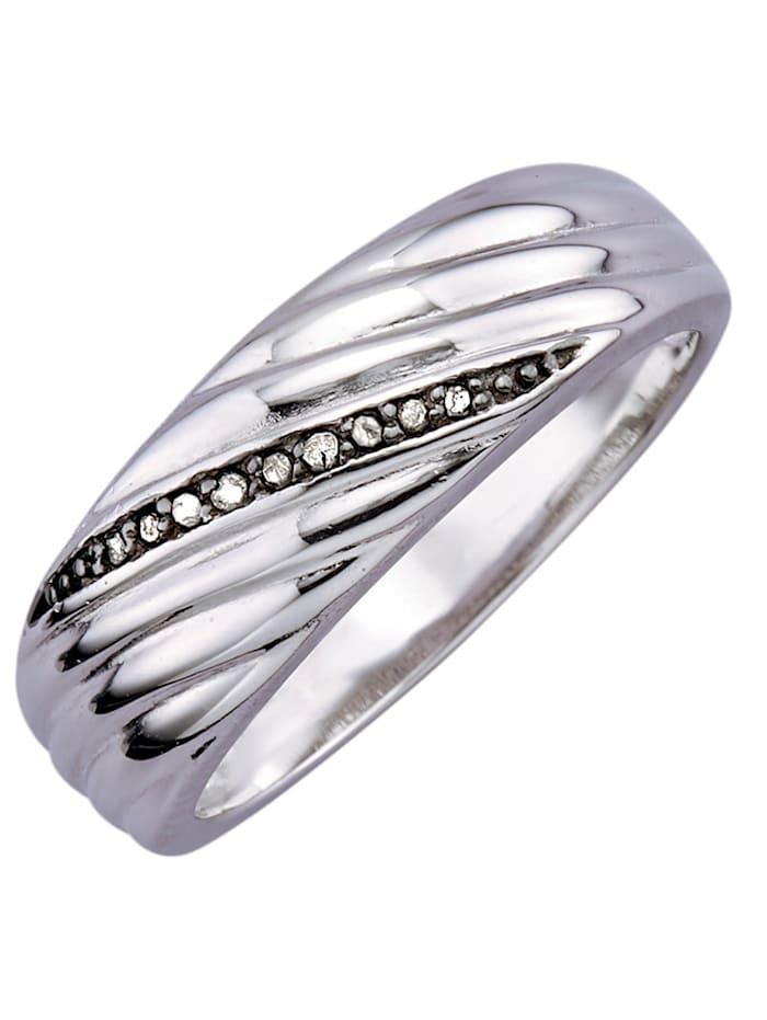 Mustin timantein somistettu naisten sormus, Hopeanvärinen