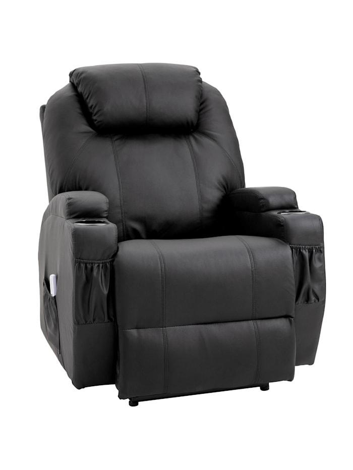 HOMCOM Massagesessel mit Wärme- und Liegefunktion, schwarz