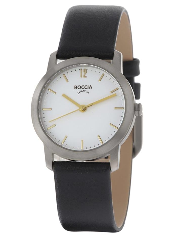 Boccia Titan-Damenarmbanduhr mit Lederarmband, Weiß