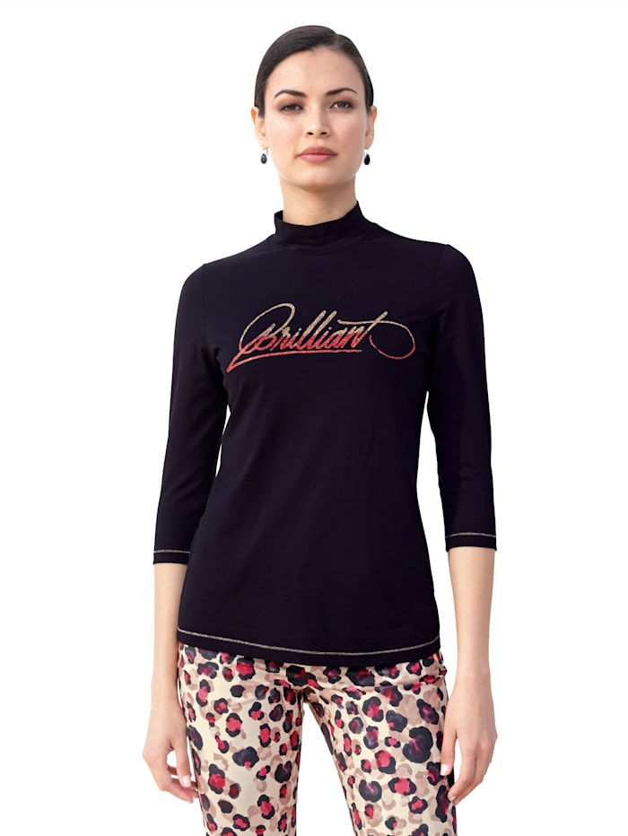 AMY VERMONT Shirt met opschrift voor, Zwart/Rood