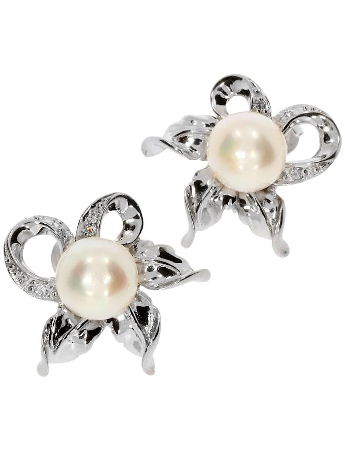 1001 Diamonds Damen Schmuck Edelstein Süßwasserperle Ohrstecker Anhänger 925 Silber weiß, weiß