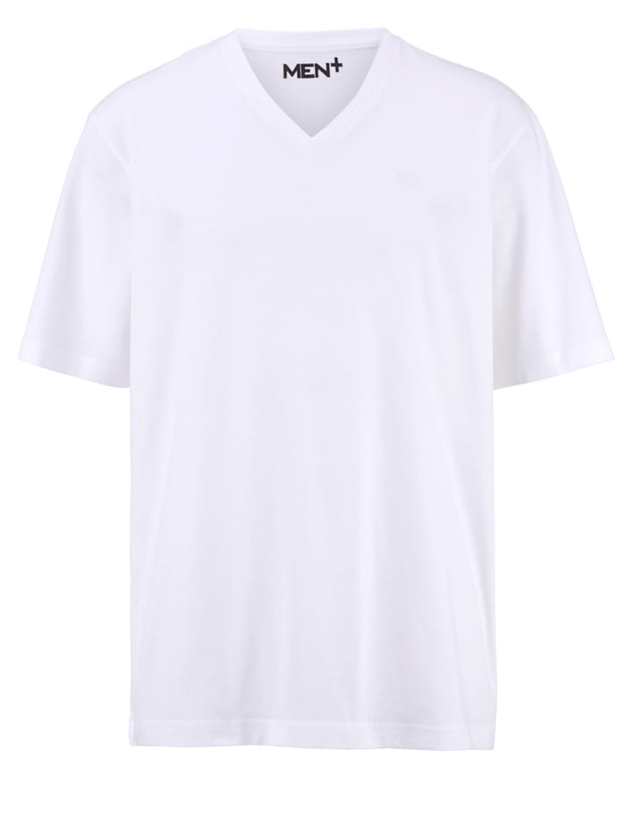Men Plus V-ringad T-shirt av bomull, Vit