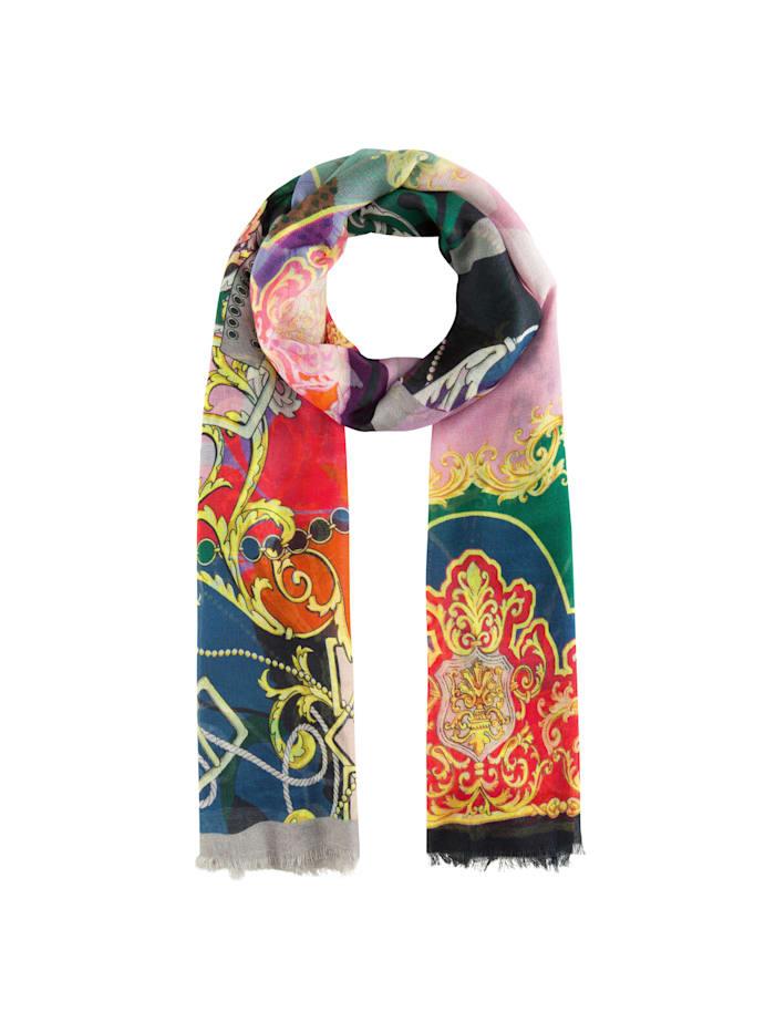 Codello Schal mit klassischem Foulard-Muster aus Baumwolle und Modal, grey