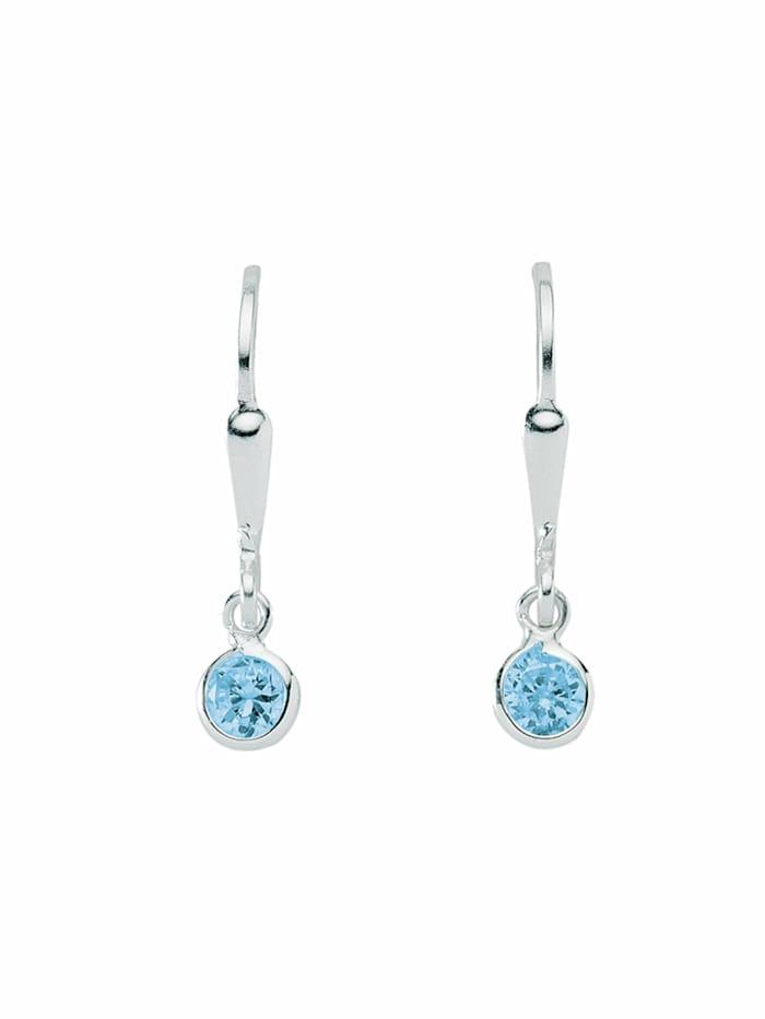 1001 Diamonds 1001 Diamonds Damen Silberschmuck 925 Silber Ohrringe / Ohrhänger mit Zirkonia Ø 4,6 mm, blau