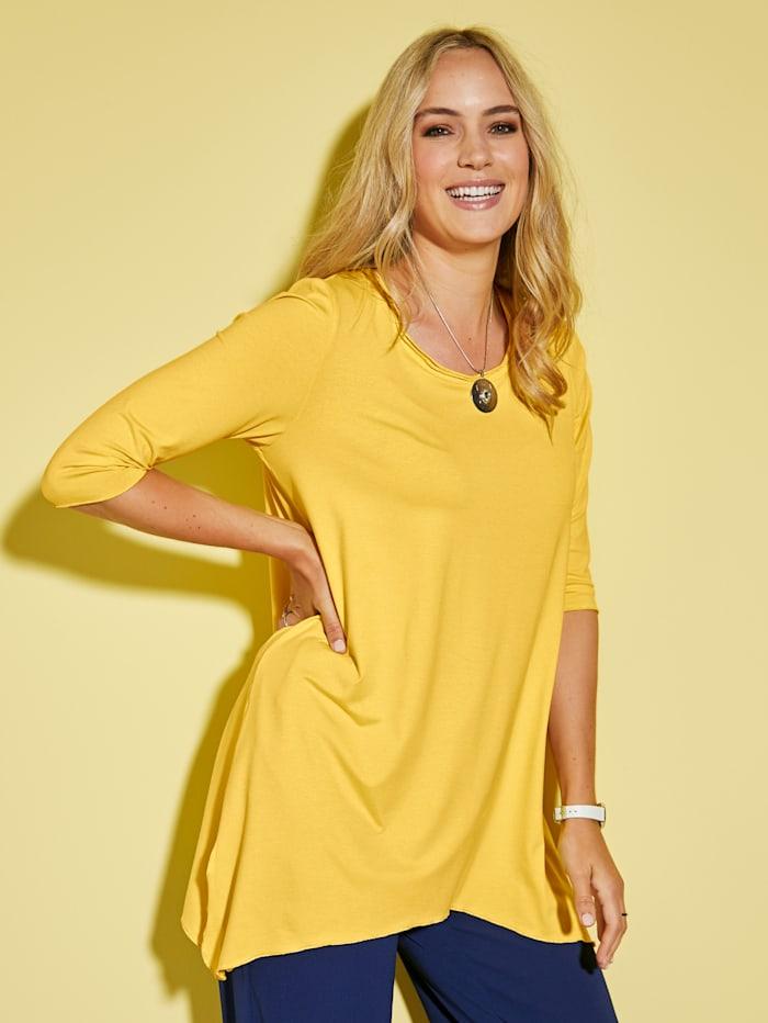 MIAMODA Tričko s třpytivou přízí na zakončení lemu, Žlutá