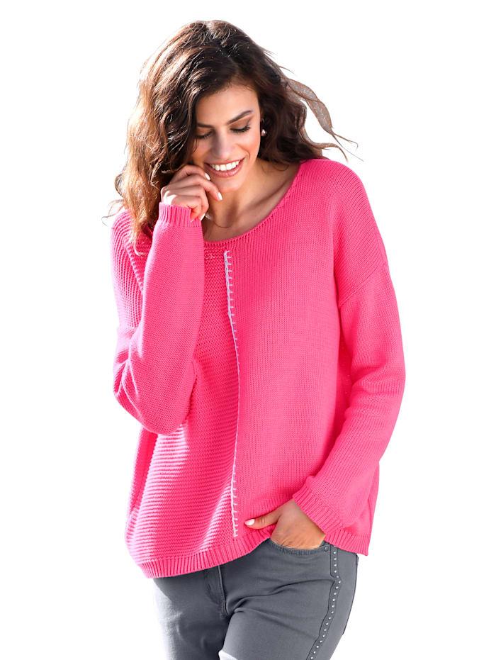 AMY VERMONT Pullover mit verschiedenen Strickoptiken, Pink