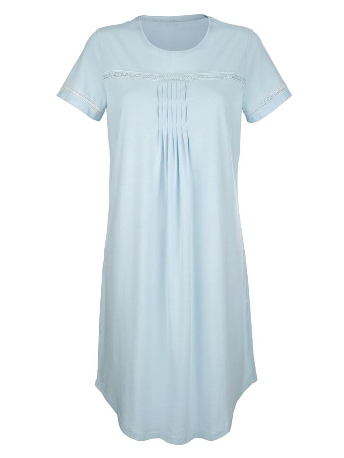 Simone Chemise de nuit à plis décoratifs, Bleu ciel