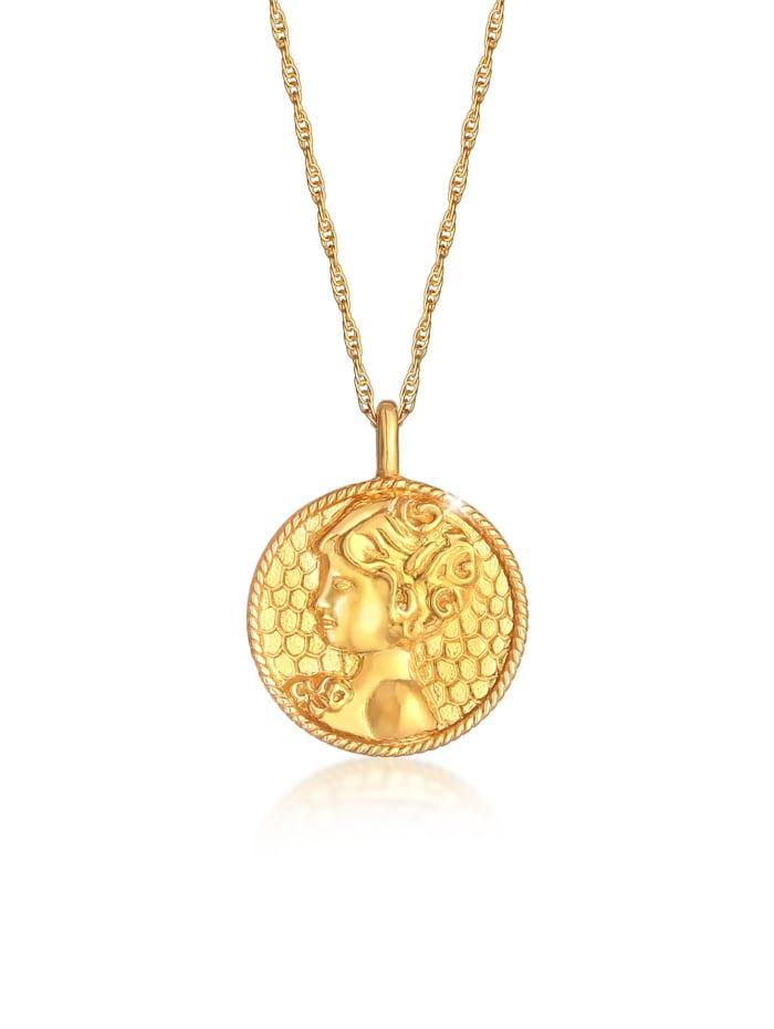Elli Halskette Sternzeichen Jungfrau Münze 925 Silber, Gold