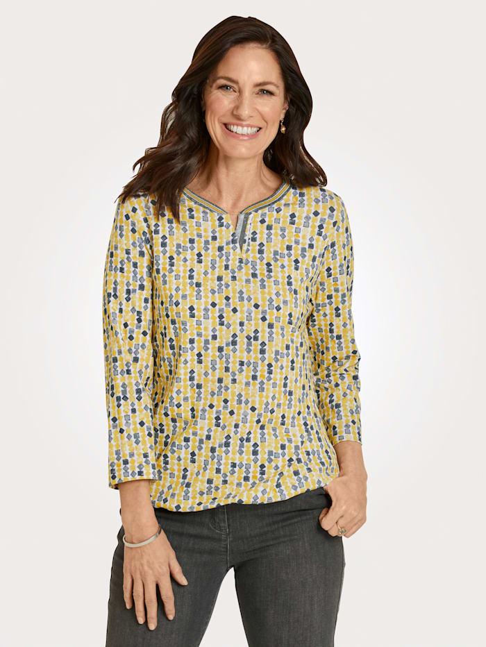 Rabe T-shirt avec bordure fantaisie, Jaune/Gris clair