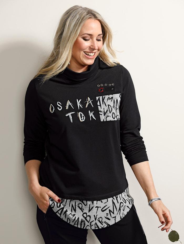 MIAMODA Sweatshirt mit bedrucktem Einsatz am Saum, Schwarz/Anthrazit