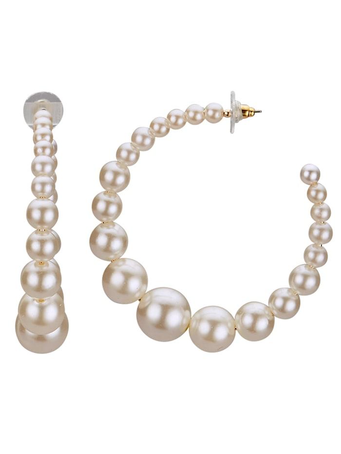 KLiNGEL Ohrstecker mit Perlen, Weiß