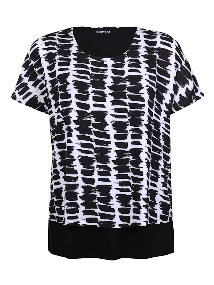 seeyou 2-in-1-Shirt mit grafischem Print ., schwarz
