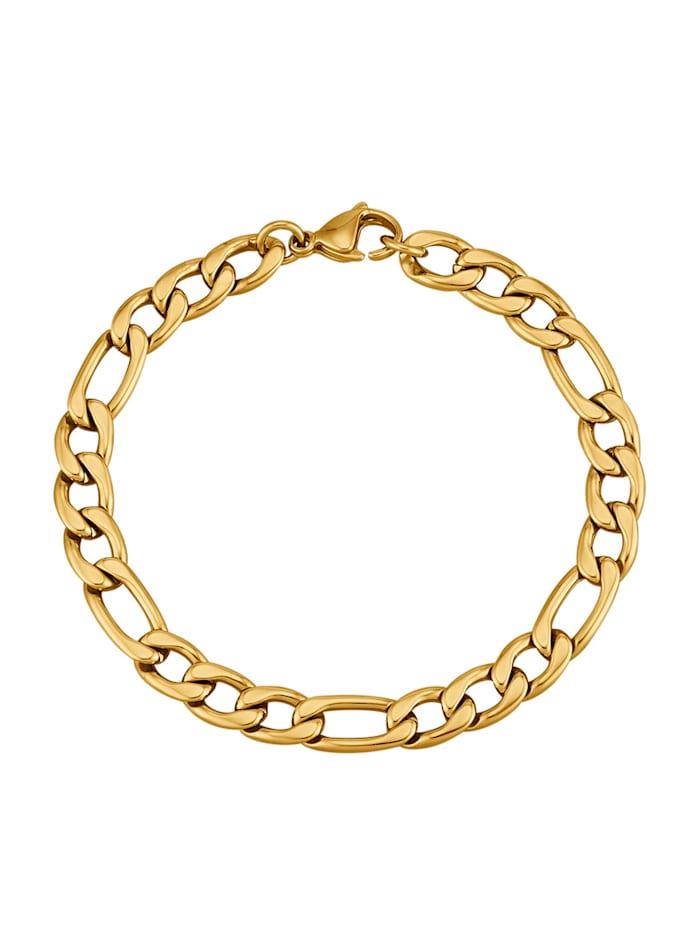 Armband, figaropansarlänk, Guldfärgad
