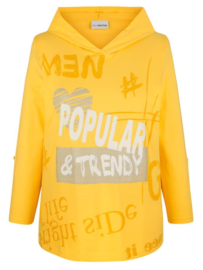 MIAMODA Tričko s dekoratívnou mesh kapucňou, Žltá