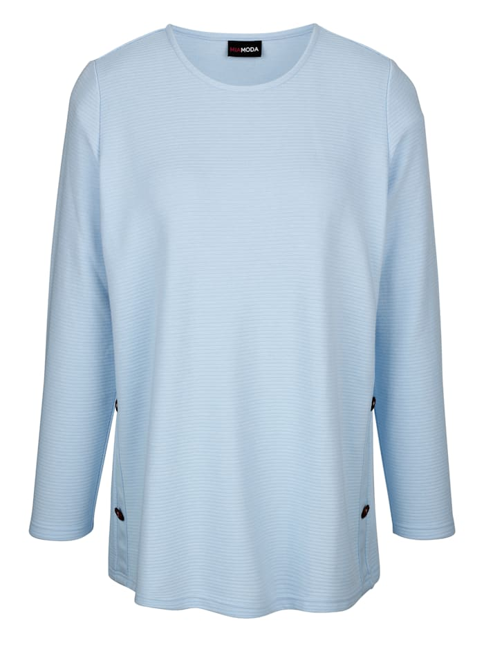 MIAMODA Sweatshirt mit Rundhalsausschnitt, Hellblau