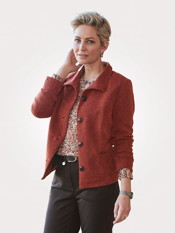 Barbara Lebek Knitted jacket in a textured finish, Terracotta